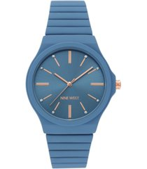 nine west women's blue rubberized bracelet watch, 37.5mm