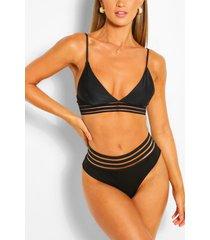 mesh detail bikini thong, black