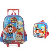 kit mochila luxcel de rodinhas escolar masculina com lancheira pets hero 32722 - azul - menino - dafiti