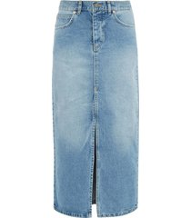 slit-front denim skirt