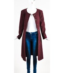 01a burgundy cashmere collarless 'cc' button down long jacket sz 42