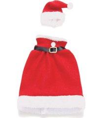 kit natal decorativo capa para garrafa mamã£e noel 2 unidades - vermelho - dafiti