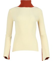 pale yellow knit turtleneck top