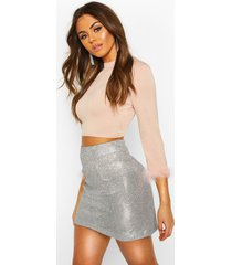 feather trim high neck top, nude