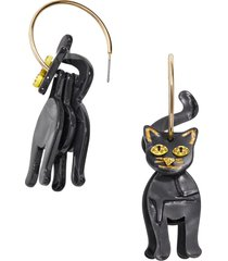 women's baublebar black cat hoop earrings
