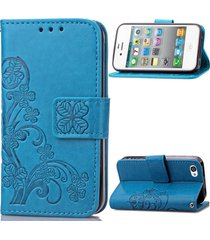 iphone 4s case,xyx [retro four leaf clover][blue] - [card slot][flip][slim fit][