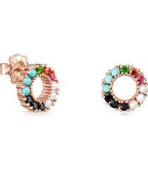 pendientes pequeño en oro rosa vermeil con piedras preciosas 912726540