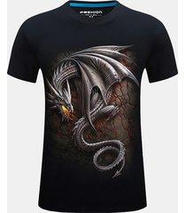mens plus size fashion 3d drago t-shirt in cotone con scollo a manica manica corta