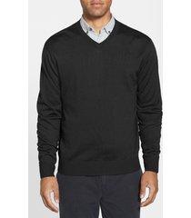 men's big & tall cutter & buck douglas v-neck sweater, size 1xb - black