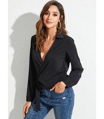 yoins blusa de manga larga con cordones negros diseño deep v cuello blusa de manga larga