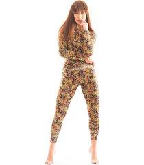 pijama thais gusmão longo agarradinha leopardo tropical colorido