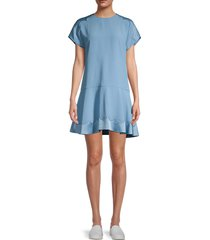 redvalentino women's scalloped drop-waist dress - delphinium - size 38 (6)