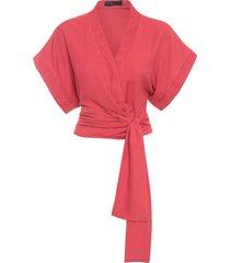 blusa feminina detalhe drapeado - vermelho
