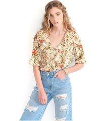 blusa para mujer cuello redondo, manga 3/4 color-multicolor-talla-l