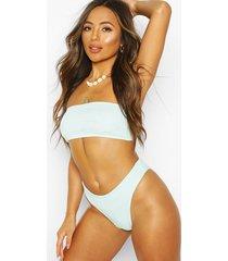 crinkle bandeau high waist bikini, blue