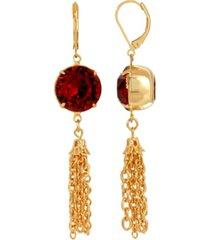 2028 women's gold tone red swarovski crystal tassel drop earrings