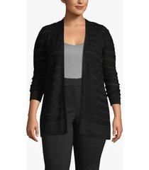 lane bryant women's open-stitch striped cardigan 14/16 black