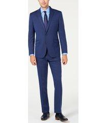 kenneth cole reaction men's slim-fit ready flex stretch bright blue pinstripe suit