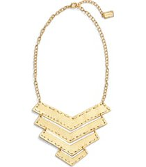 karine sultan chevron pendant necklace in gold/silver mix at nordstrom