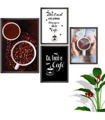 kit conjunto 4 quadro oppen house s frases eu você e café lojas cafeteria xícaras gráos moldura preta decorativo interiores    sem vidro - tricae