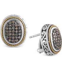 effy balissima brown diamond oval earrings (5/8 ct. t.w.) in sterling silver and 18k gold