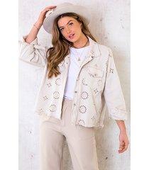 denim embroidery jacket beige