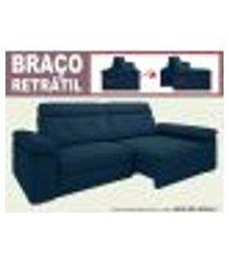 sofá glamour 2,30m assento com braço retrátil e reclinável velosuede petroleo - netsofas