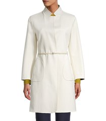 loro piana women's reversible belted coat - white - size 42 (8)