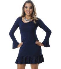vestido curto manga longa camila azul marinho