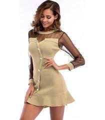 vestido corto de manga larga con cuello redondo y costuras de vestido mujer