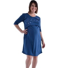 camisón azul mora maternal sol