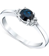 sapphire (5/8 ct. t.w.) & diamond (1/20 ct. t.w.) ring in 14k white gold