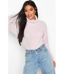 cropped fisherman roll neck sweater, lilac