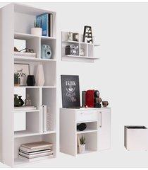 conjunto para escritório 01 livreiro/balcáo multiuso/prateleira/cachepôt branco modern office e estilare móveis - tricae