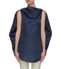 circular cape back sleeveless silk satin organza top
