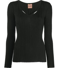 nude cut-out ribbed pullover - black
