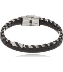 bracelete boca santa semijoias em couro negro em aço inox - unisex