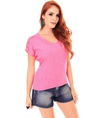 blusa sideral botões na manga pink