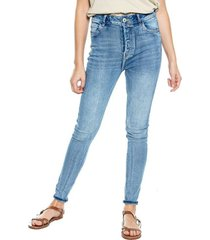 high waist skinny fit jeans + botonadura interna vintage appearance color blue