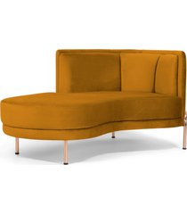 sofã¡ chaise longue para sala de estar ferrara veludo mostarda - gran belo - amarelo - dafiti