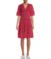 max studio women's floral shirred tiered dress - red - size xs