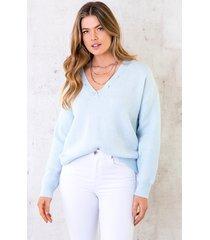 knopen trui met v-hals babyblauw