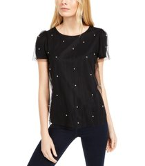 inc imitation-pearl & tulle top, created for macy's
