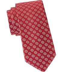 eton men's floral medallion silk tie - pink red