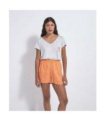 pijama curto em viscolycra estampa self love club | lov | cinza | gg