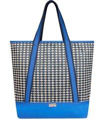 bolsa sacola  marca lefity modelo júlia azul e palha