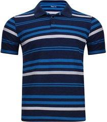 polo hombre con lineas en contraste color azul, talla s