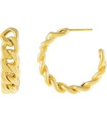 women's adina's jewels chunky cuban chain hoop earrings