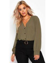 plus woven button through collarless shirt, khaki