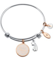 "unwritten ""unlock your dream"" white enamel adjustable bangle bracelet in rose gold-tone stainless steel silver plated charms"